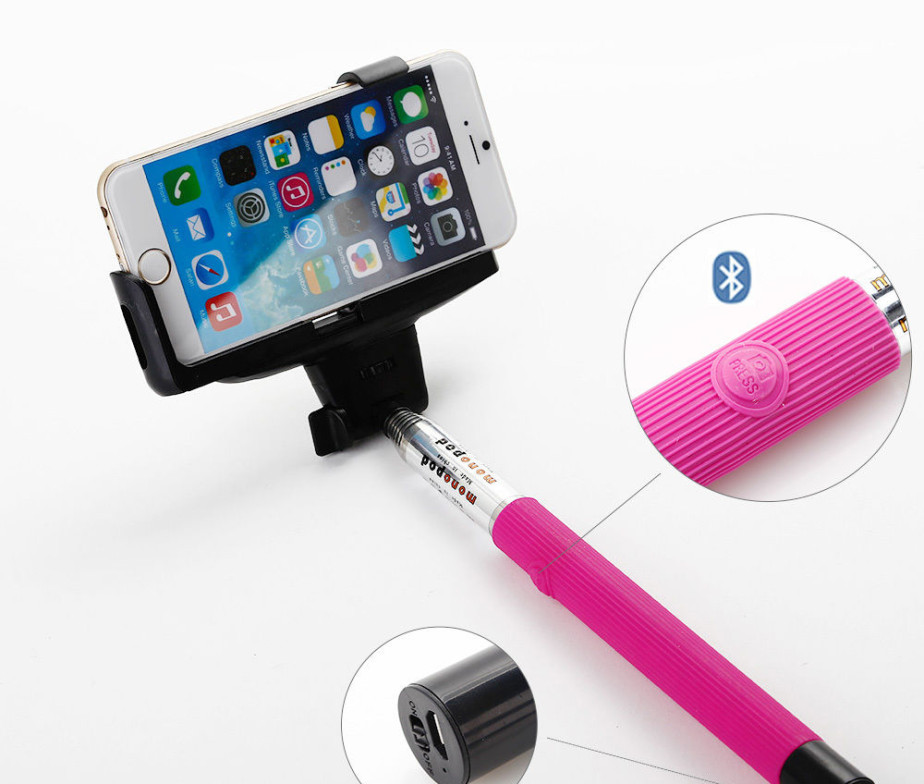Pink Selfie Stick With Built