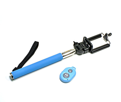 Blue Selfie Stick & Bluetooth Remote