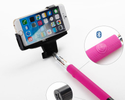 Pink Selfie Stick With Built In Bluetooth