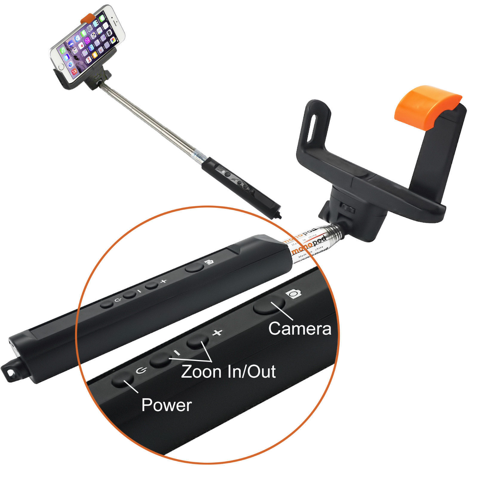 black selfie stick with built in bluetooth and zoom selfie stick. Black Bedroom Furniture Sets. Home Design Ideas